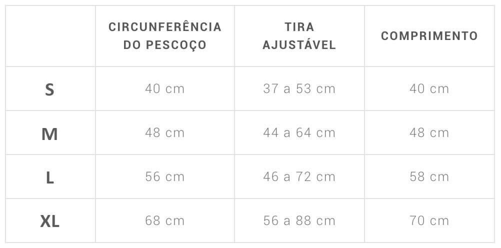 Tabela Tamanhos Capa de Chuva