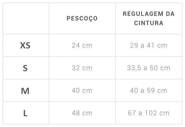Tabela de Tamanhos AirMesh