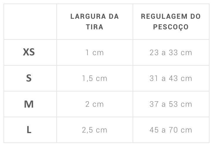 Tabela de Tamanhos Coleira
